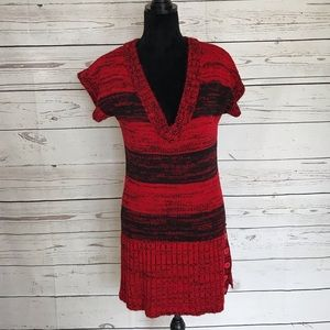 Say What? Sweater Black & Red V-Neck Dress